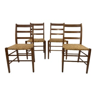 Wood Ladderback Chairs W/ Woven Seats, S/4 For Sale