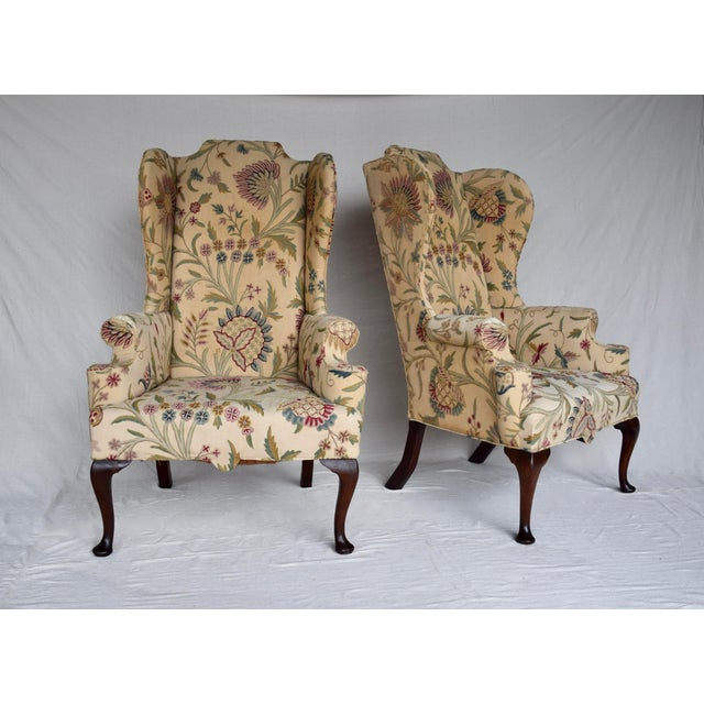 English English Queen Anne Style High Back Library Wingchair, Circa 1910 For Sale - Image 3 of 13