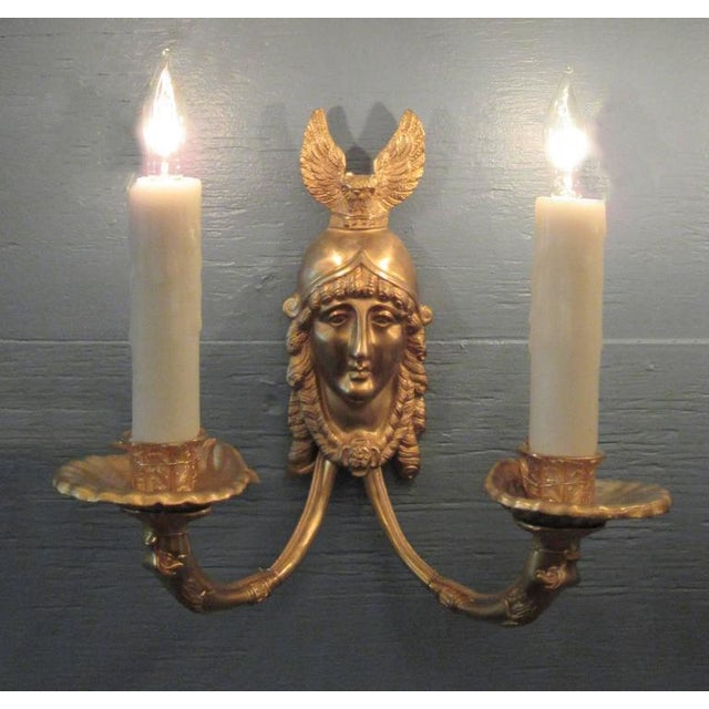 19th Century French Bronze Dore Athena with Owl Sconces For Sale - Image 5 of 9