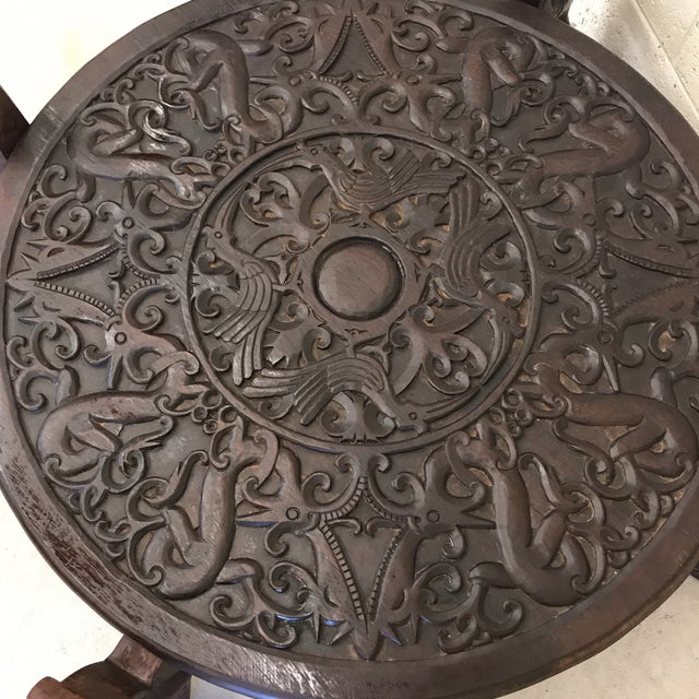 Boho Chic Carved Wood Dragon Head Coffee Table For Sale - Image 11 of 11