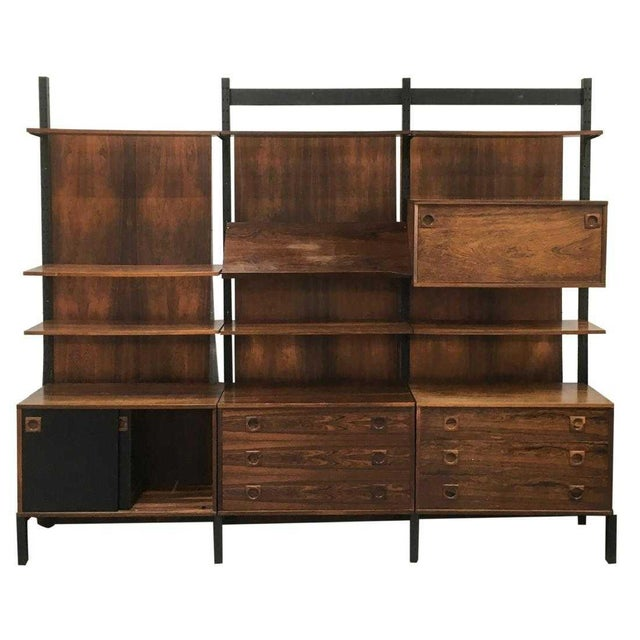 Impressive Danish Modern Rosewood Wall Unit For Sale - Image 9 of 9