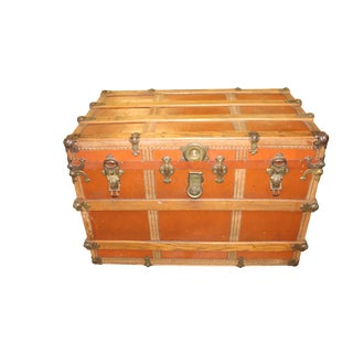 Antique Leather Steamer Trunk For Sale
