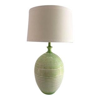 1950s Mid Century Modern Green Studio Pottery Lamp