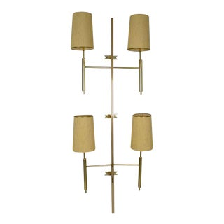 Large Modernist Brass Wall Sconce, Usa, Circa 1970s For Sale
