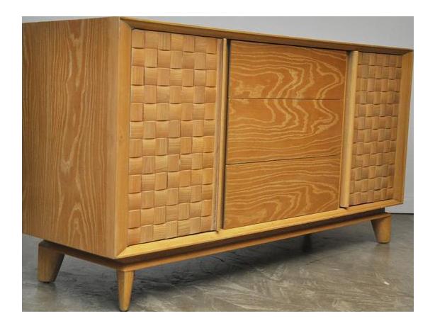 Lovely Paul Laszlo Basketweave Sideboard | DECASO