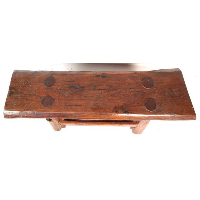 Lodge Mid-Century Modern Live Edge Cobbler Bench For Sale - Image 3 of 7