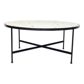 Paul McCobb Style Black Wrought Iron With Inset Glass Tile Top Coffee Table For Sale
