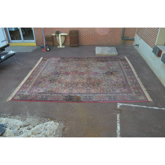 Traditional Karastan #717 Multi Panel Kirman Large Room Size Rug For Sale - Image 3 of 13