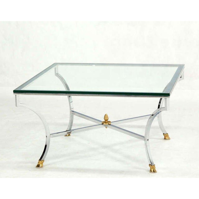 "Hoof Brass Feet Chrome and 3/4"" Glass Square Coffee Table For Sale In New York - Image 6 of 10"