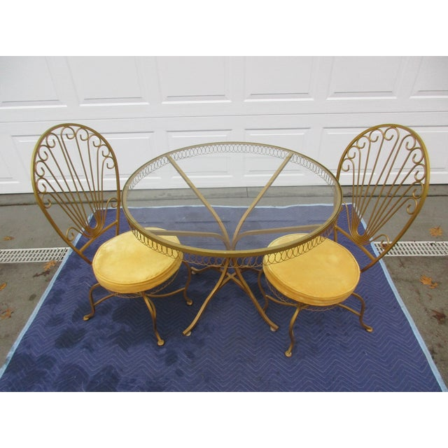 Vintage Hollywood Regency Bistro or Patio Set by Thinline For Sale - Image 9 of 13