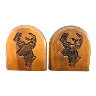 1960s Mid-Century Modern Deer Stag Head Wood Bookends - a Pair For Sale