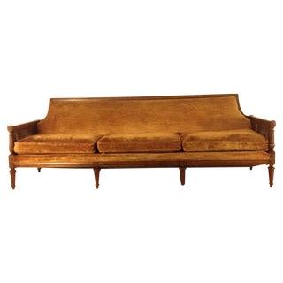 Vintage Velvet & Double Cane Sofa