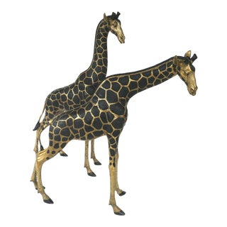 1970s Overscale Hollywood Regency Brass Giraffe Sculptures - a Pair For Sale