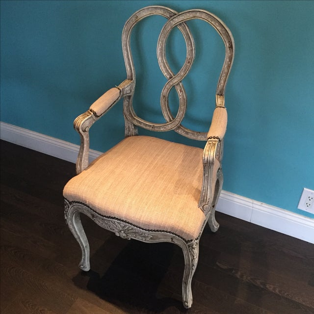 Ethan Chairs set of two from Horchow in perfect condition. Handpainted finish. Hand carved of mahogany. Cotton burlap...