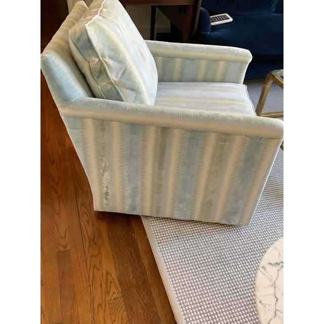 Brunschwig & Fils Bromo Velvet Upholstered Extra Comfortable Swivel Chair Swivel chair manufactured by Louis J. Solomon...