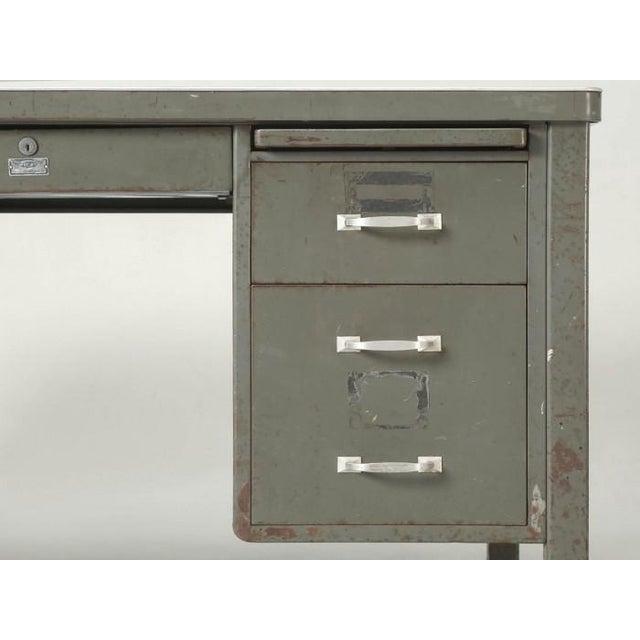 Steel American Industrial Desk in Original Condition For Sale - Image 11 of 12