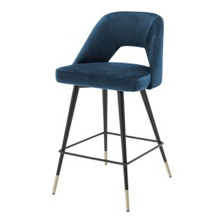 Blue Velvet Counter Stool | Eichholtz Avorio For Sale