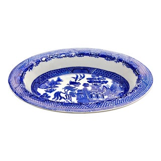 Late 19th Century English Blue Willow Staffordshire Bowl For Sale