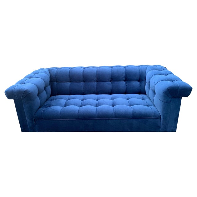 Blue Edward Wormley for Dunbar Party Sofa For Sale - Image 8 of 8