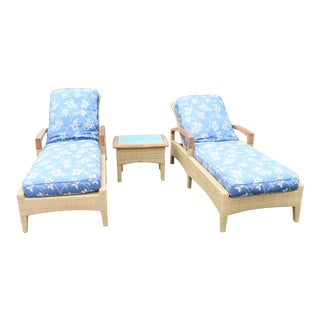 "Gloster ""Pepper Marsch"" Chaises & Side Table - Set of 3"