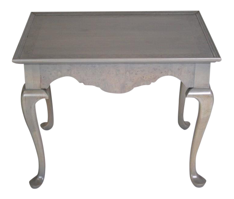 Grey Stained Queen Anne Style Side Tables   A Pair For Sale