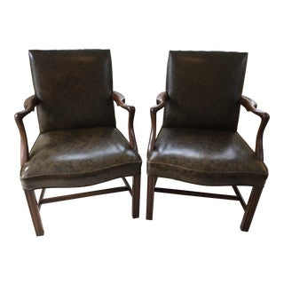 1960s Mid-Century Chippendale Kittinger Mahogany Lolling Chairs - a Pair For Sale