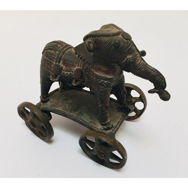 Antique Cast Bronze Temple Toy Elephant on Wheels India For Sale - Image 13 of 13