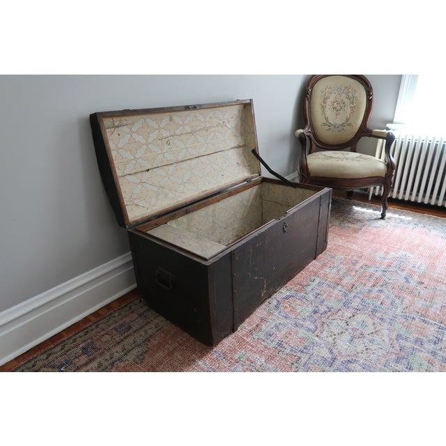 Metal Dometop Steamer Trunk Chest With Metal Strapping and Iron Handles For Sale - Image 7 of 11