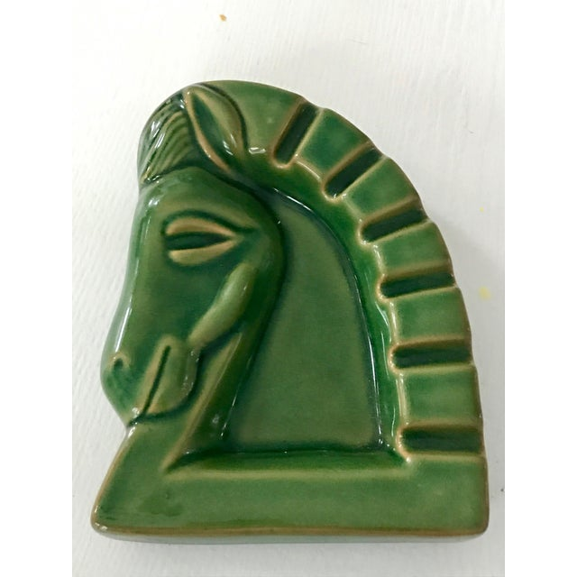 Art Deco Green Ceramic Glazed Horse Sculpture - Image 2 of 5