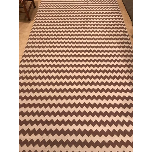 Madeline Weinrib Brown and White Chevron Area Rug - Image 2 of 4