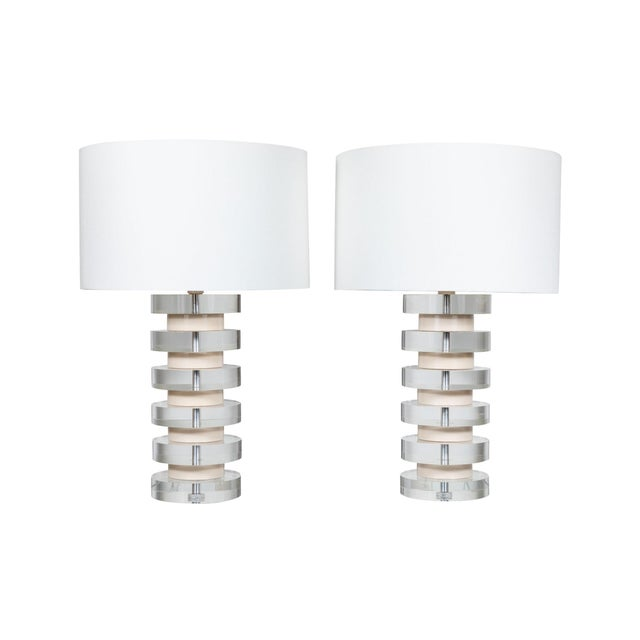 Monumental Pair of Karl Springer Stacked Lucite Lamps For Sale - Image 9 of 9