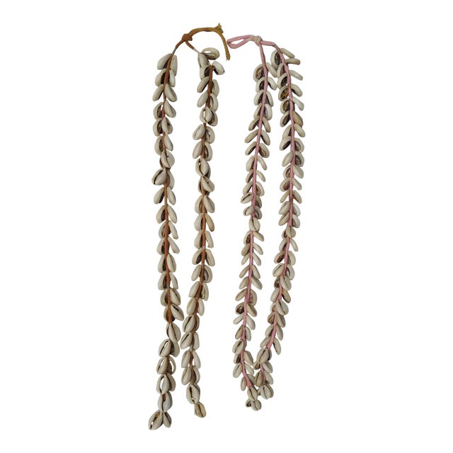 Indian Vintage Cowrie Shell Cotton Tassels- A Pair - Image 1 of 5
