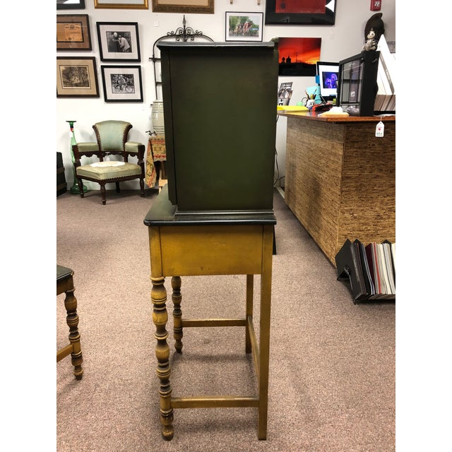 1920s 1920s Americana Green Wooden Telephone Table For Sale - Image 5 of 11