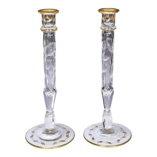Pair of Moser Handblown Crystal Candlesticks with Intaglio Poppy Pattern & Gold For Sale