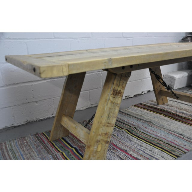 Farmhouse Salvaged Industrial Reclaimed Pine Wood Rustic Dining Table With Metal Elements For Sale - Image 3 of 13