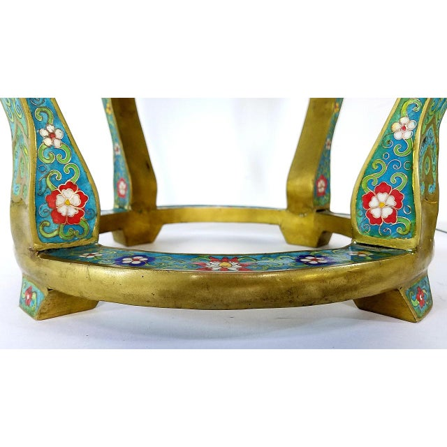Chinese Cloisonne Bronze Stools - a Pair For Sale - Image 9 of 13