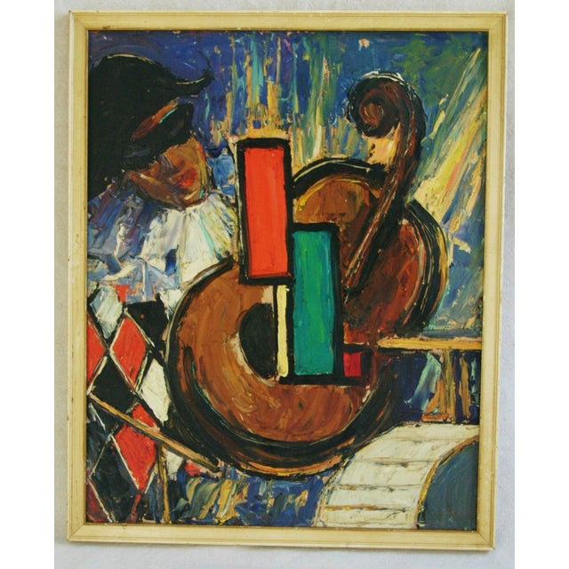1950s Mid-Century Harlequin & Cello Abstract Painting For Sale - Image 5 of 7