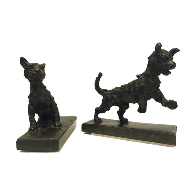 Art Deco Bronze Terrier Dog Bookends - A Pair For Sale - Image 3 of 6