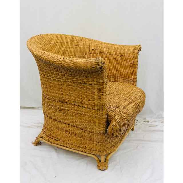 Boho Chic Vintage Palm Beach Chic Woven Wicker Arm Chair For Sale - Image 3 of 13