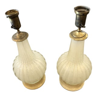 1950's Murano Venetian Glass Lamps - a Pair For Sale