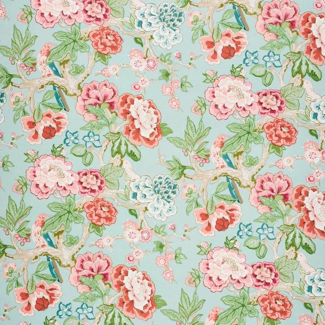 Schumacher x Mary McDonald Bermuda Blossoms Wallpaper in Aqua , Sample For Sale