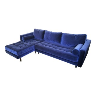 Navy Blue Velvet Left Chaise Sectional Sofa