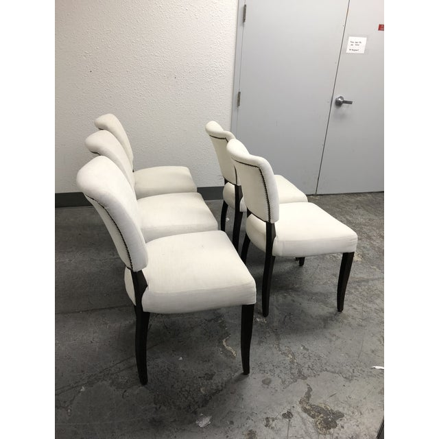 Restoration Hardware Set of Five Restoration Hardware Adèle Fabric Side Chairs For Sale - Image 4 of 13