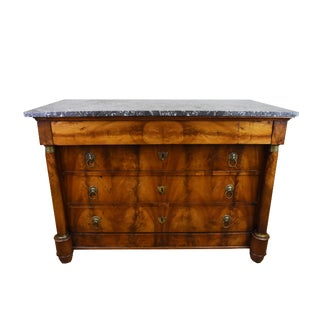 19th Century French Walnut Empire Commode With Marble Top