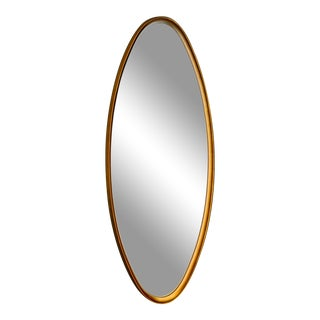 Mid Century Oval Giltwood Framed Wall Mirror For Sale