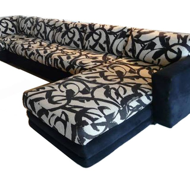 Abstract Patterned Secional Sofa by Directional - Image 3 of 8