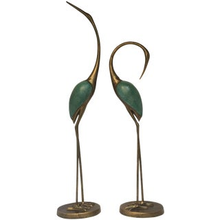 Asian Style Golden Crane Sculptures - a Pair For Sale