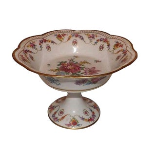 19th C. Hand Painted Porcelain Compote For Sale