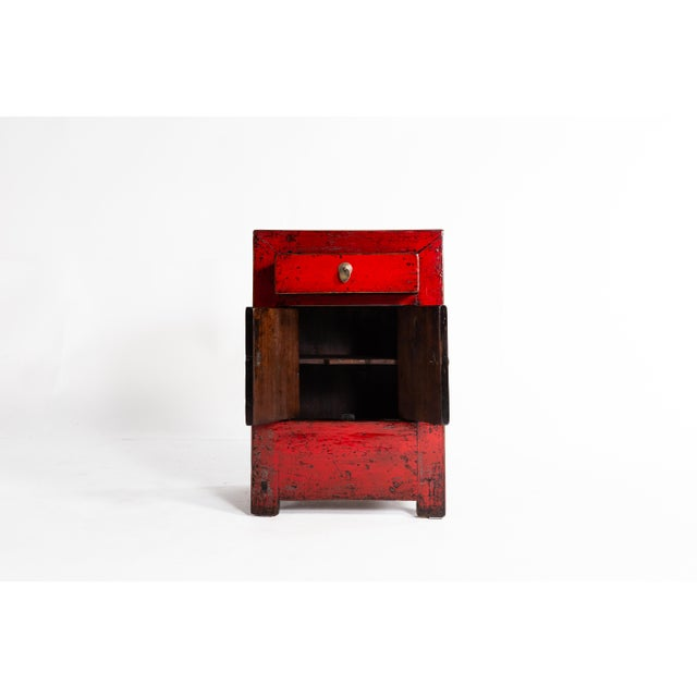 Wood Chinese Red Lacquer Cabinet With a Drawer and Pair of Doors For Sale - Image 7 of 11