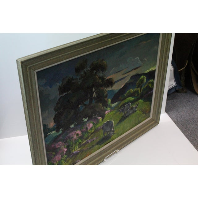 """Cottage """"Eventide"""" Cow Oil Painting by Buchholz For Sale - Image 3 of 9"""